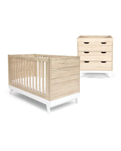 Mamas & Papas Furniture Sets Lawson 2 Piece Cot Bed Set with Dresser - Natural & White
