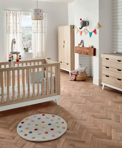 Mamas & Papas Furniture Sets Lawson 3 Piece Cot Bed Range with Dresser and Wardrobe - Natural & White