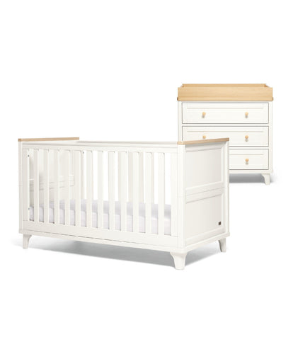 Mamas & Papas Furniture Sets Trista 2 Piece Cotbed Set with Dresser Changer - White/Oak