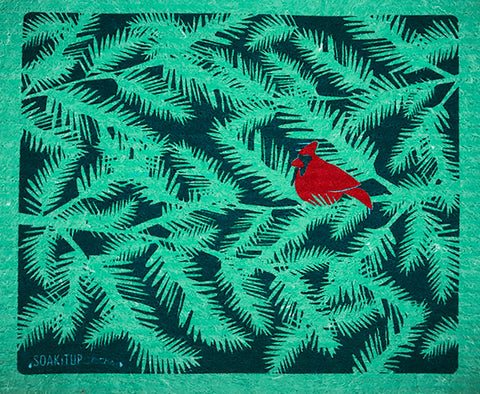 Red Cardinal Evergreen Branches Green