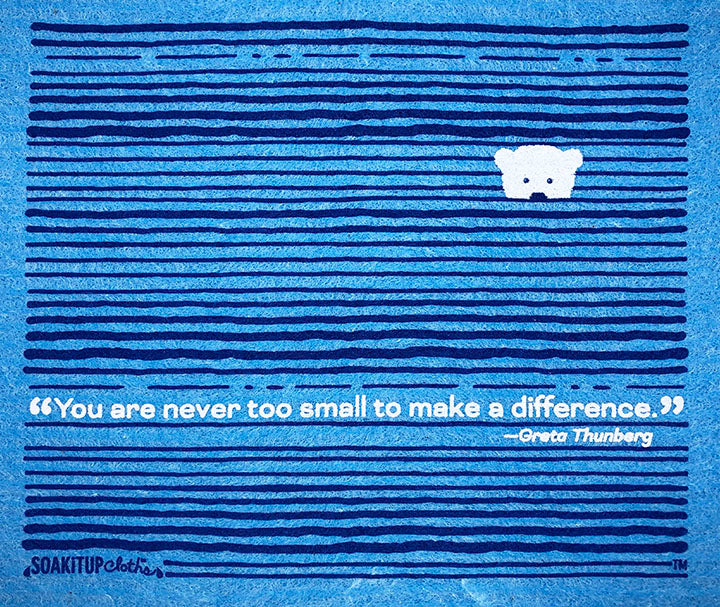 """You are never too small to make difference""—Greta Thunberg baby polar bear"