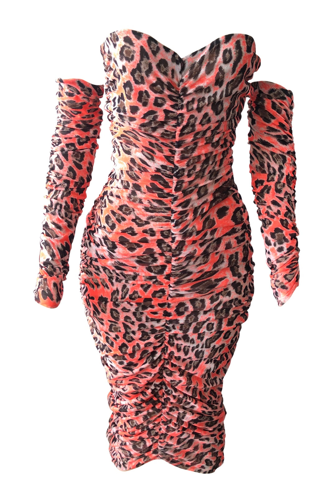 Neon Leopard Ruched Mesh Dress