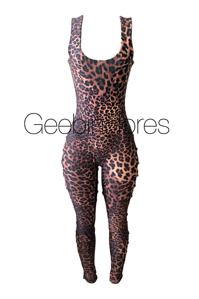 Leopard Kiara Lace Up Sleeveless Catsuit