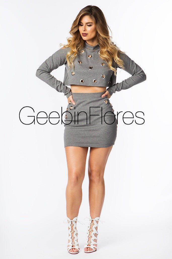 Heather Gray Grommet Top