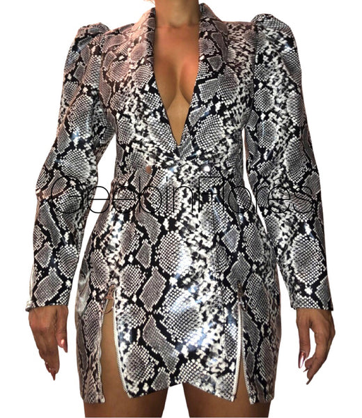 Snakeprint Vegan Leather Blazer Dress