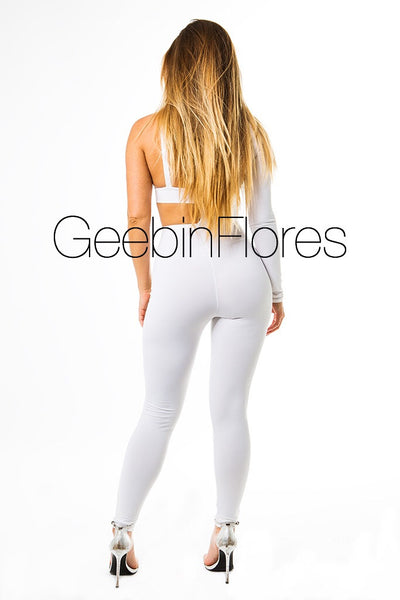 White Noelia Cut Out Catsuit (PREORDER)