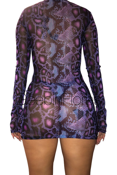 Purple Snake Print Mesh Dress