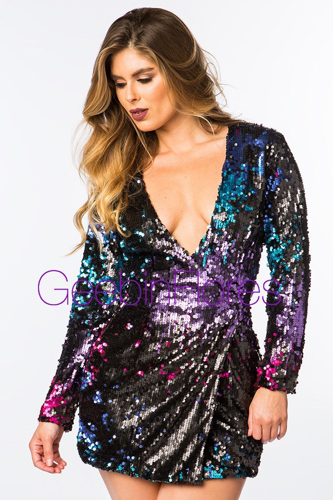 Ombre Sequin Blazer Mini Dress