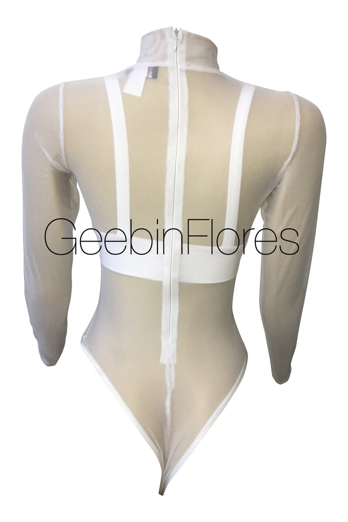 White Mesh Crystal Bodysuit