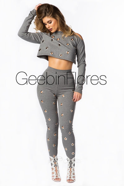 Heather Gray Grommet Legging Set