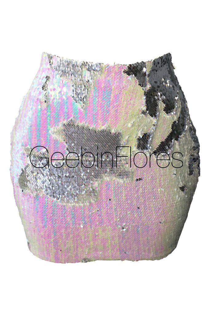 Iridescent Sirena Sequin Mini Skirt