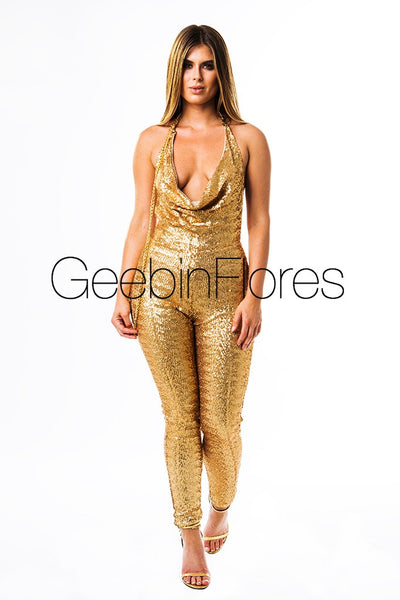 Gold Kendall Sequin Jumpsuit
