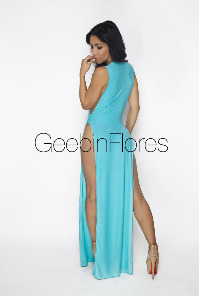 Aqua Midnight Goddess Dress