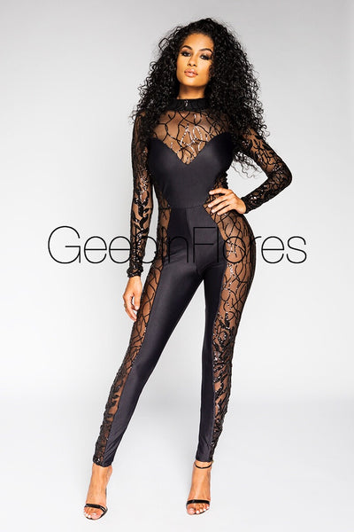 Black Jasmine Catsuit (MADE TO ORDER)