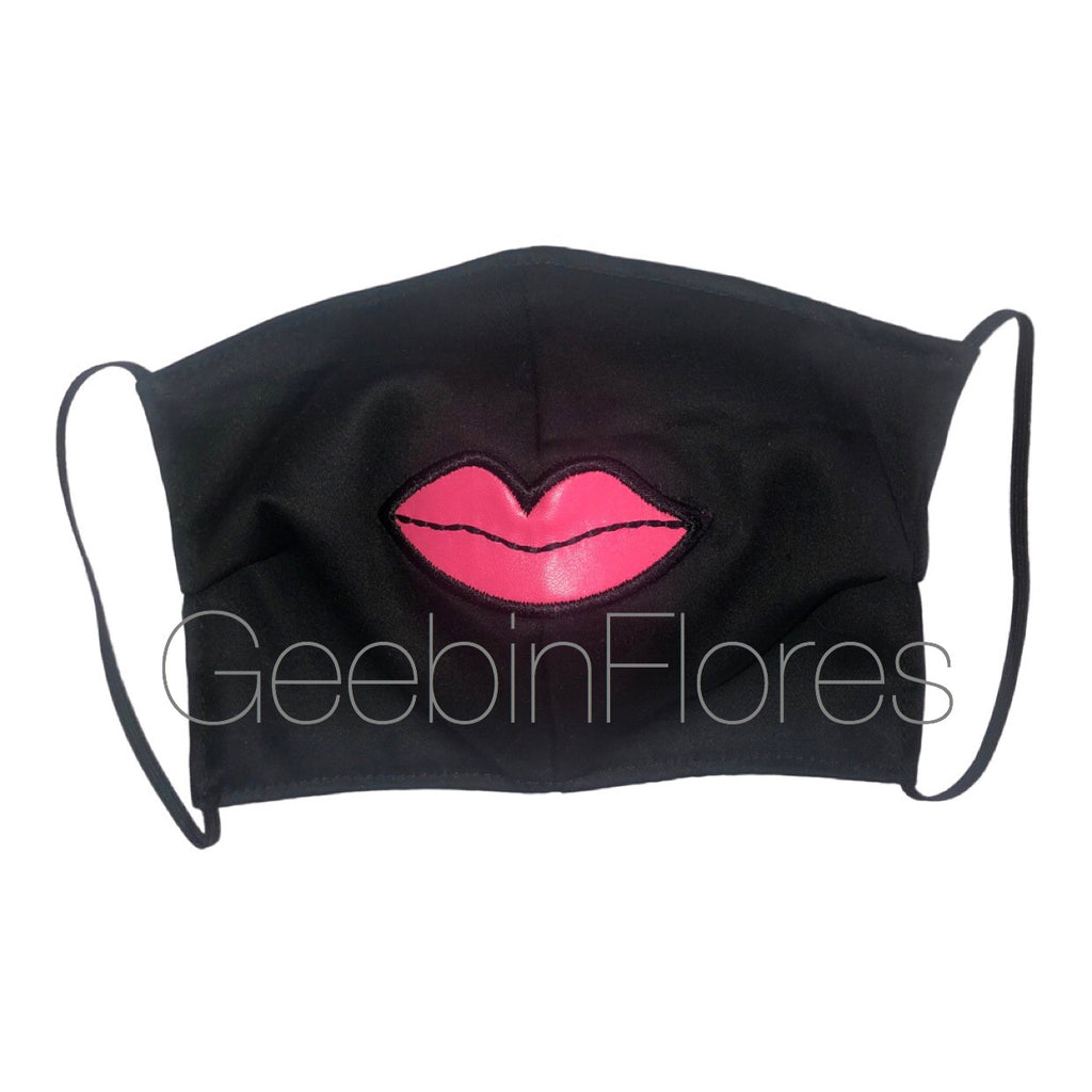 Black/Pink Lip Face Mask
