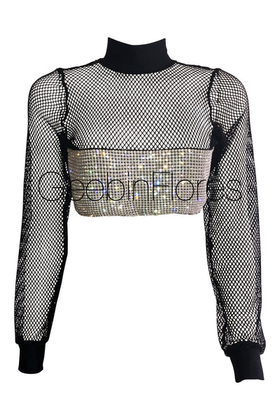 2d6ce0ea856a8 Tammie Fishnet Crystal Top ...