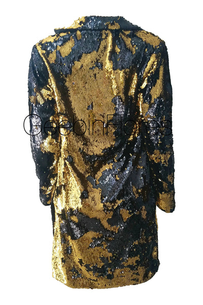 Gold and Black Sirena Sequin Coat