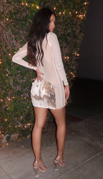 The Gold/Ivory Ida Sequin Dress (PREORDER)