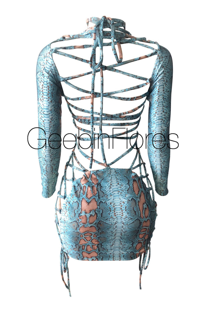 Blue Snakeskin Kiara Lace Up Dress