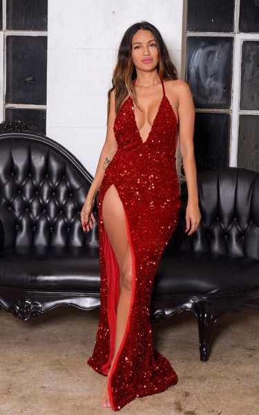 Serina Sequin Slit Dress