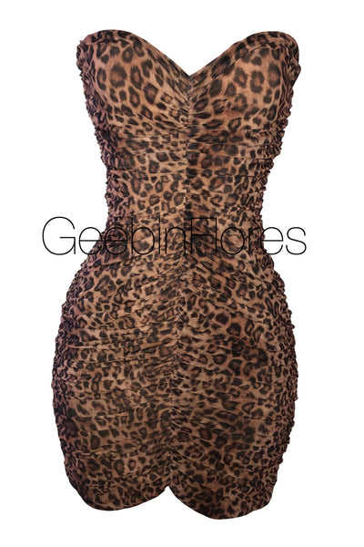 Leopard Ruched Mesh Dress