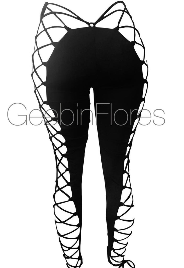 Black Kiara Lace Up Leggings