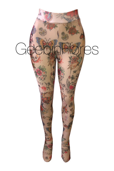 Tattoo Mesh Tights