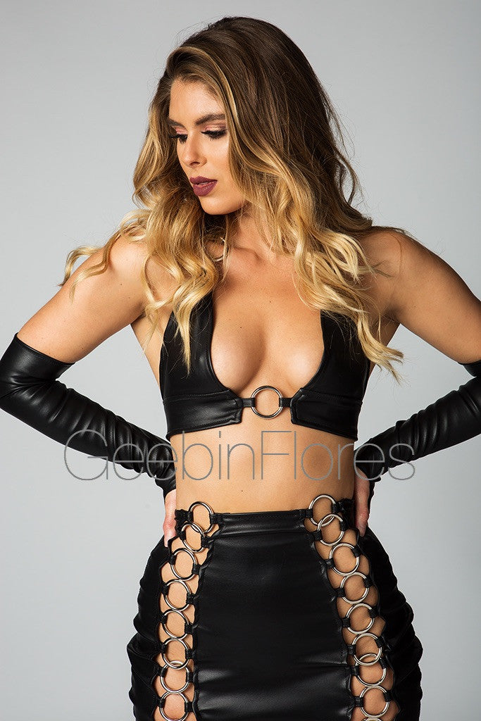Dominique Vegan Leather Metal Skirt Set (PREORDER)