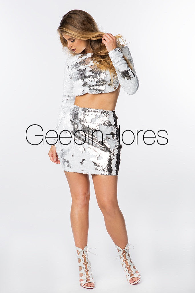 White/Silver Sirena Sequin Mini Skirt