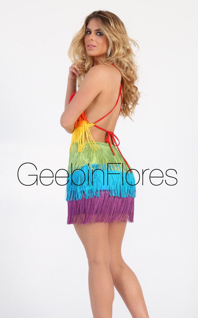 Rainbow Fringe Dress