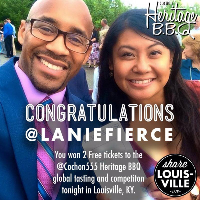 Congratulations @laniefierce you won 2 free tickets to the @cochon555 Heritage BBQ tasting and competition tonight.