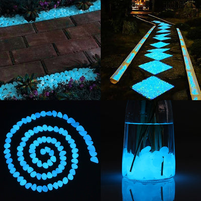 Decorative Rocks, Glowing rocks, 300 pcs Glow in the dark pebbles for Outdoor Decor, Garden Lawn Yard, Aquarium, Walkway, Fish Tank, Luminous Pebbles