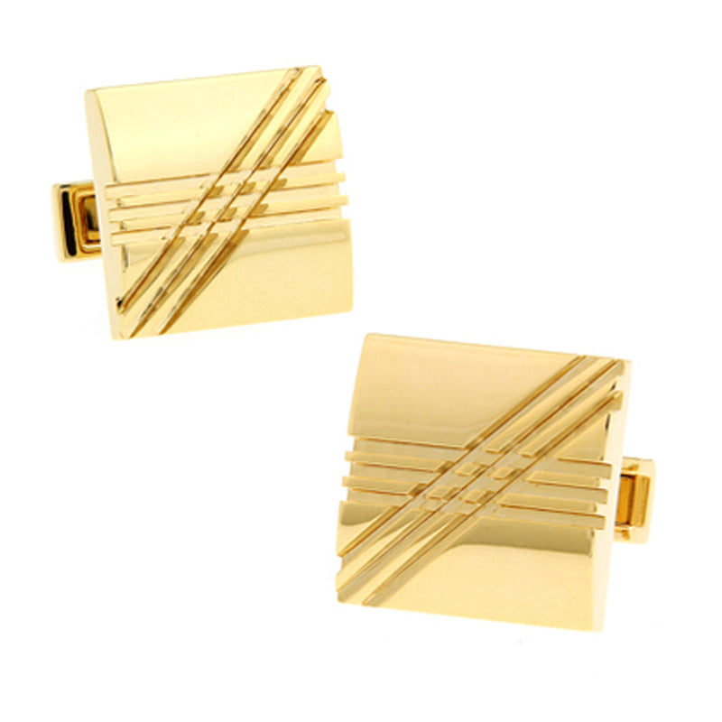 Criss Cross Gold Cufflinks