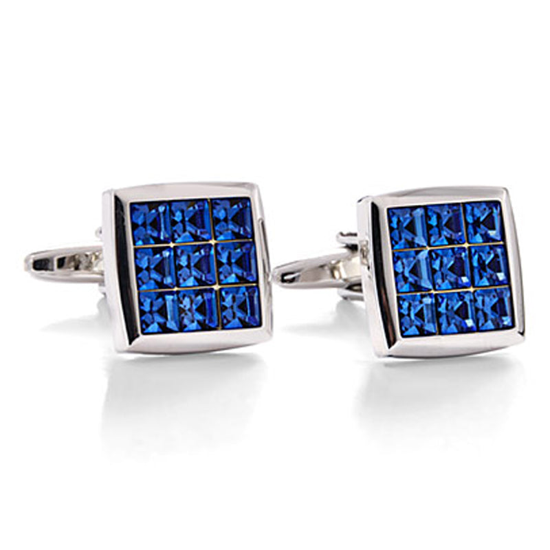 Crystal Cube Blue Cufflinks