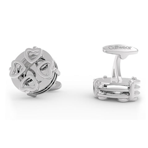 4 Hearts Cufflinks - Stainless steel