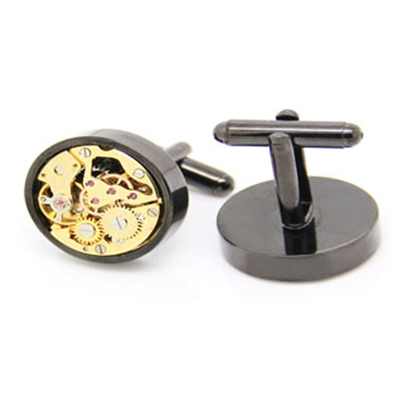 Mechanical Cufflinks - Gunmetal and Gold