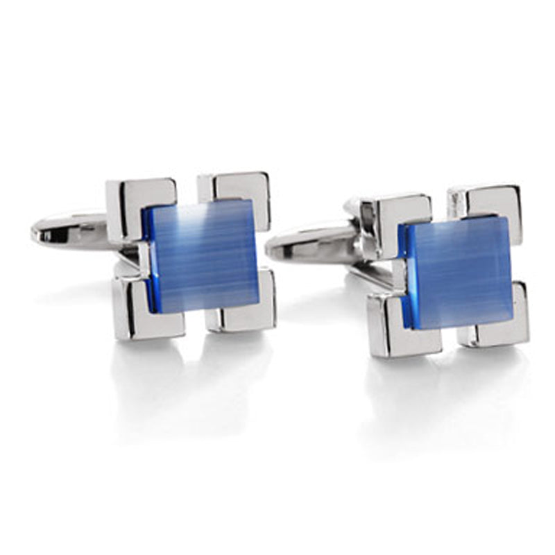 Raised Square Blue Cufflinks