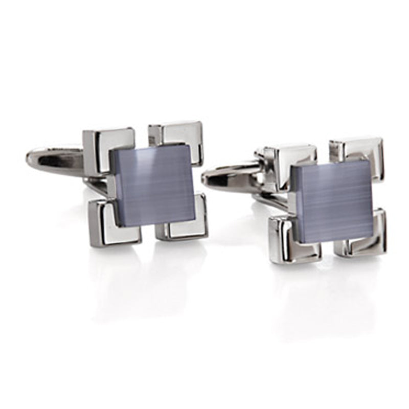Raised Square Grey Cufflinks