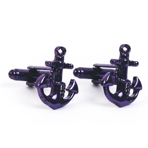 Anchored Cufflinks - Purple