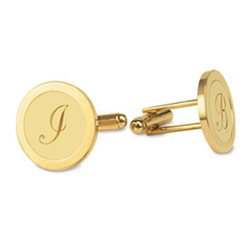 Custom Monogram Cufflinks - Script Letter Gold