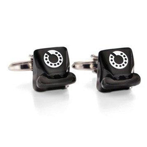 Retro Telephone Black Cufflinks