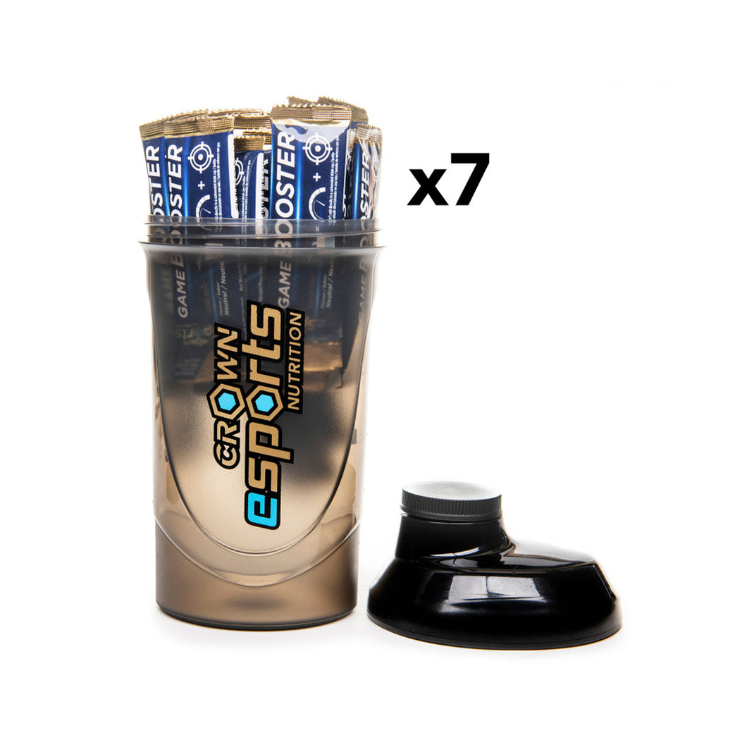 PACK Shaker Crown PRO + 7 x Game Booster Neutro CON CAFEÍNA