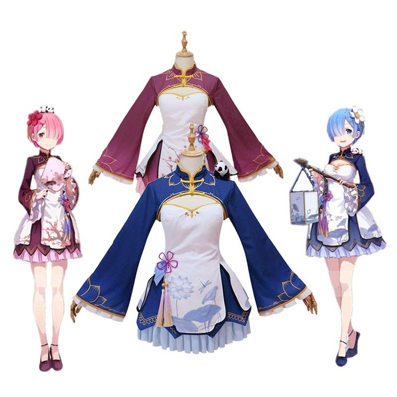 Anime Re:Zero Starting Life in Another World Rem and Ram Chinoiserie Cosplay Costume