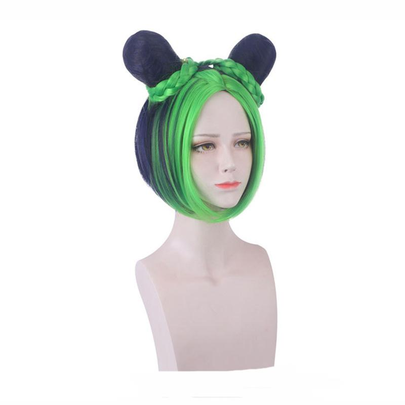 Anime JoJo's Bizarre Adventure Stone Ocean Jolyne Cujoh Mixed Dark Green Cosplay Wigs