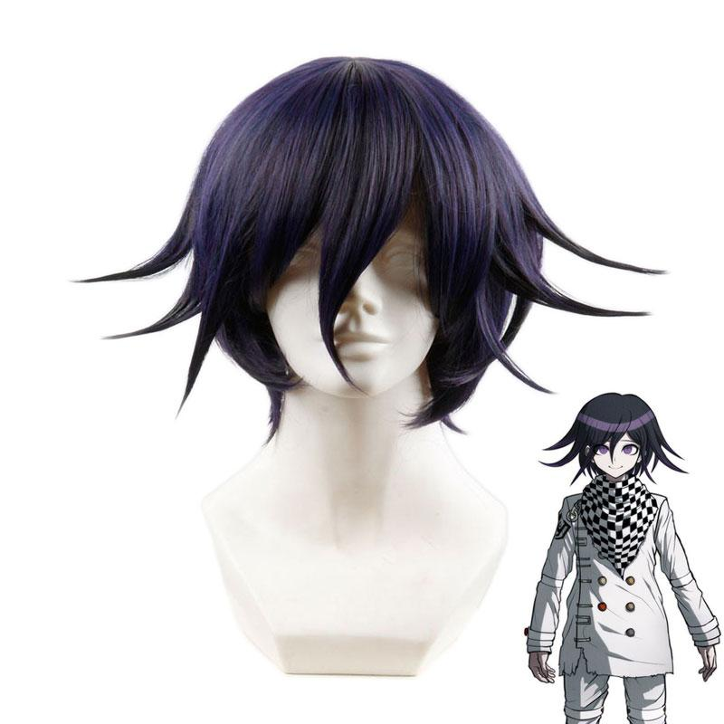 Anime DanganRonpa V3 Oma Kokichi Black Mixed Purple Short Wigs