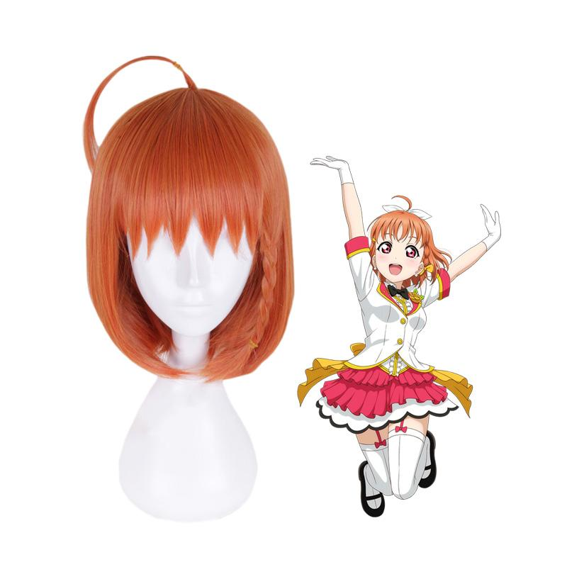 Anime LoveLive!Sunshine!! Takami Chika Long Orange Cosplay Wigs