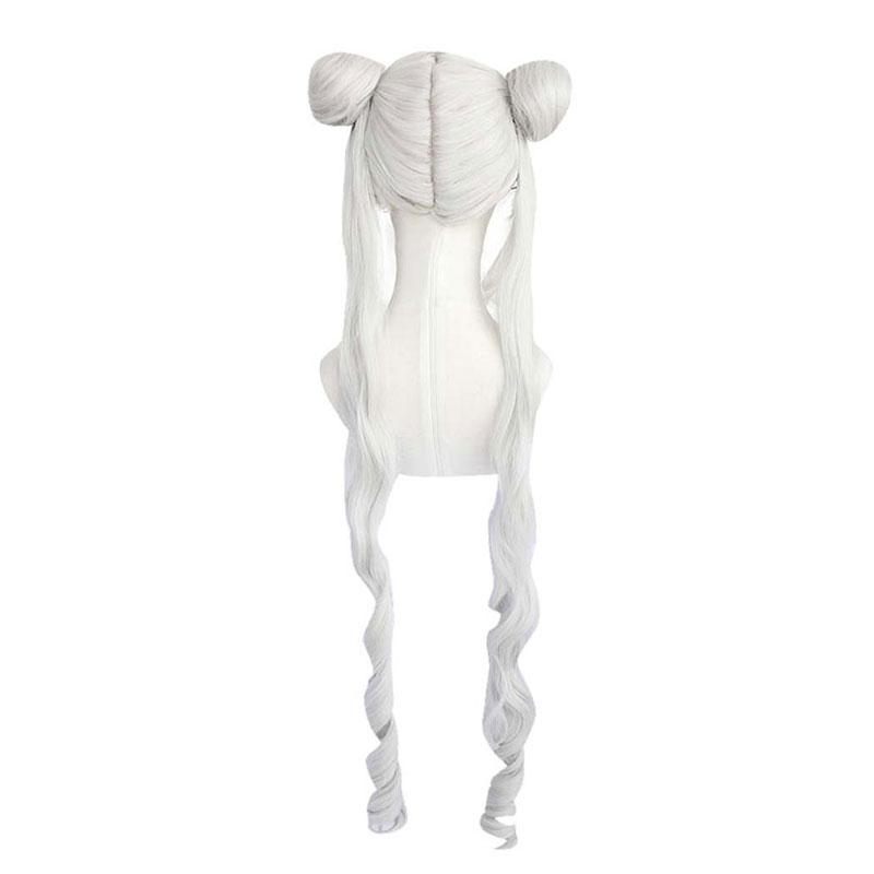 Anime Sailor Moon Tsukino Usagi Long Straight Double Braids Silver Grey Cosplay Wigs