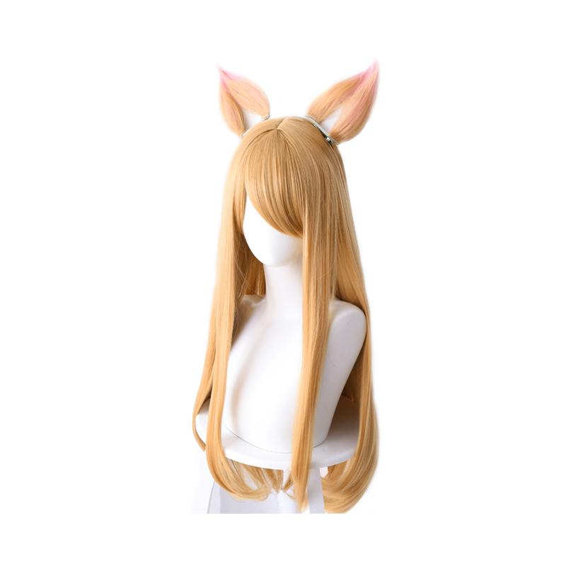 LOL KDA Nine-Tailed Fox Ahri Long Straight Blonde Cosplay Wigs With Ears