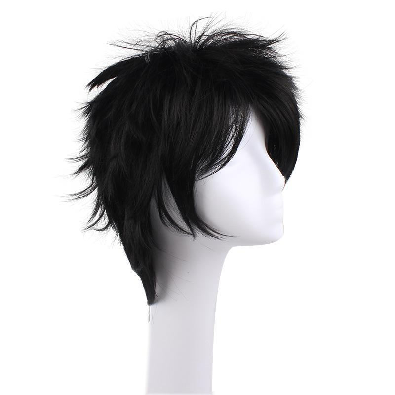 Anime Naruto Uchiha Sasuke Short Black Curly Cosplay Wigs
