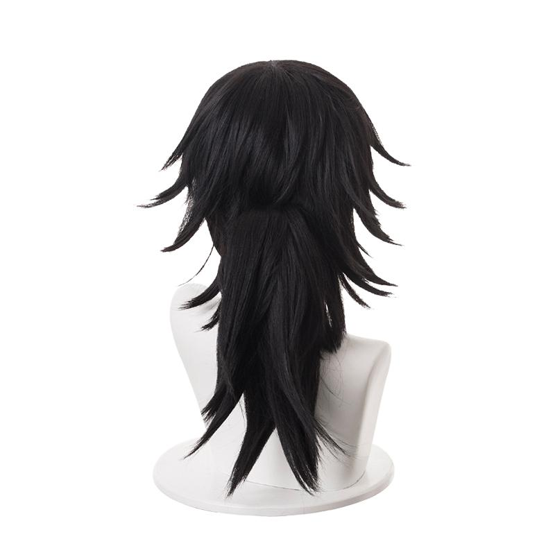 Anime Demon Slayer Kimetsu no Yaiba Tomioka Giyuu Long Straight Black Cosplay Wigs